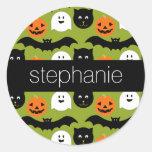 Halloween Pattern - Cute Bat Cat Pumpkin Ghost Round Stickers