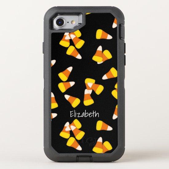 Halloween pattern random candy corn pieces OtterBox defender iPhone SE/8/7 case