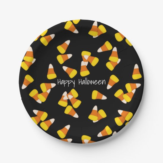 Halloween pattern random candy corn pieces paper plate