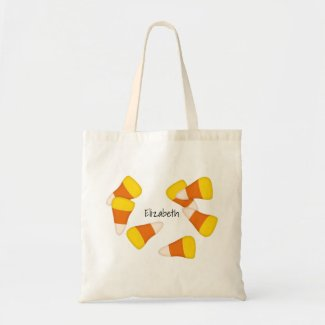 Halloween candy corn tote bag