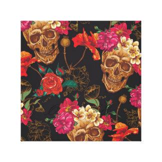 Halloween pattern,skulls,roses,gothic,black,trendy canvas print