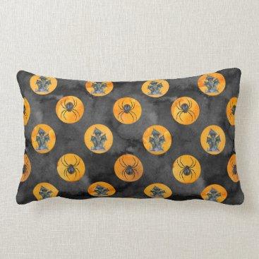 Halloween Themed Halloween Pattern Watercolor Spider Lumbar Pillow