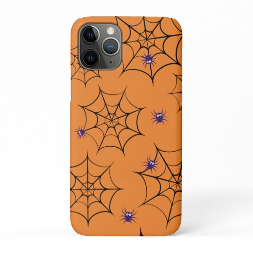 Halloween pattern with cartoon spiders and web iPhone 11 pro case
