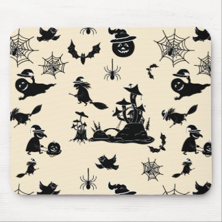 Halloween pattern with pumpkins bats witches mouse pad