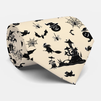 Halloween pattern with pumpkins bats witches neck tie