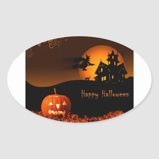 Halloween Pegatina Ovalada