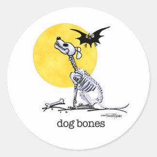 Halloween - pegatinas de los huesos de perro pegatinas redondas