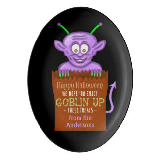 Halloween Personalized Goblin Funny Party Treat Porcelain Serving Platter