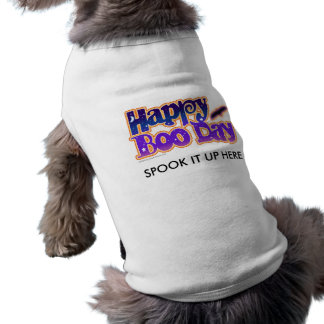 Halloween Pet Tees - Happy Boo Day Art Doggie Shirt
