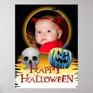 Halloween Photo Frame Skull and Jack o' Lantern Poster