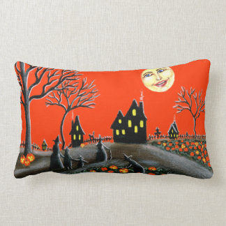 Halloween pillow Jack-O-Lanterns witches moon cats