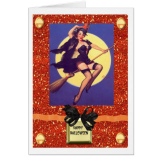 HALLOWEEN PIN UP GIRL WITCH CARD