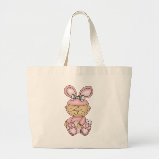 halloween pink baby bunny large tote bag