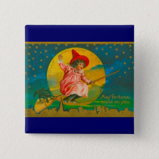 Halloween Pink Witch Button