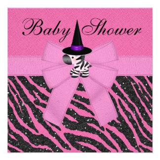 Halloween Pink Zebra Animal Print Baby Shower Custom Announcements