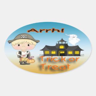 Halloween Pirate Boy Oval Stickers