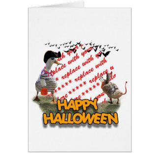 Halloween Pirate Duck & Devil Duck Photo Frame Card