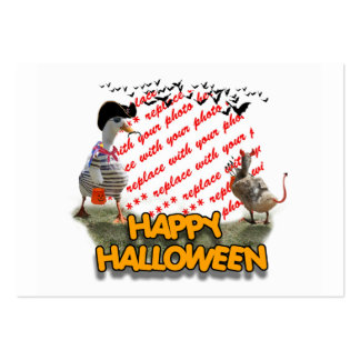Halloween Pirate Duck & Devil Duck Photo Frame Large Business Cards (Pack Of 100)