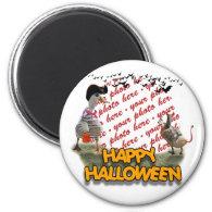 Halloween Pirate Duck & Devil Duck Photo Frame 2 Inch Round Magnet