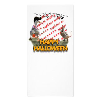 Halloween Pirate Duck & Devil Duck Photo Frame Picture Card