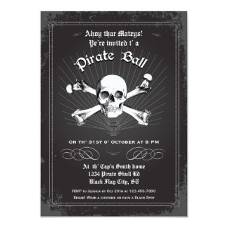 "Halloween Pirate Party Invitation 5"" X 7"" Invitation Card"