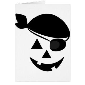 Halloween Pirate Pumpkin Face Card