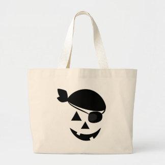 Halloween Pirate Pumpkin Face Large Tote Bag
