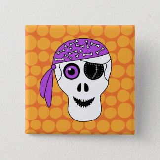 Halloween Pirate Skull Button