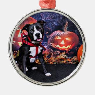 Halloween - Pitbull - Loki Ornamento Para Arbol De Navidad