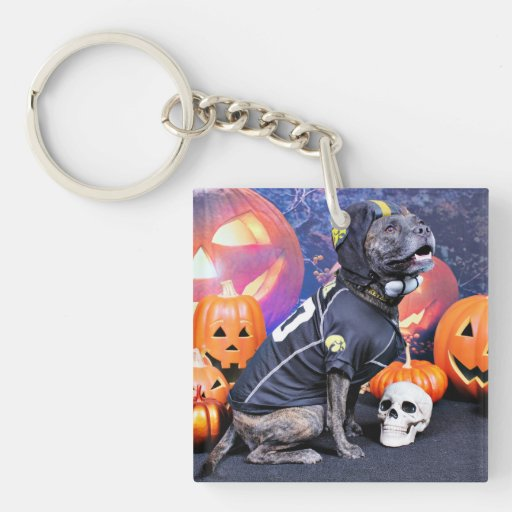 Halloween - Pitbull - Marley Llavero Cuadrado Acrílico A Doble Cara