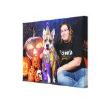 Halloween - Pitbull - Tyson Stretched Canvas Prints