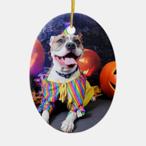 Halloween - Pitbull - Tyson Double-Sided Oval Ceramic Christmas Ornament