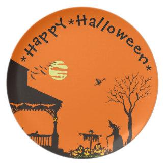 Halloween, placa, brujas, espantapájaros, negro, g plato