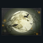 """Halloween Placemat - Full Moon, Bats &amp; Raven<br><div class=""""desc"""">A bright full moon,  silhouetting bats and ravens during All Hallows Eve makes a lovely and enchanting treat placemat ready to decorate your Halloween table. Happy Halloween! Check our the matching platter and mug!   Matching Porcelain Platter</div>"""
