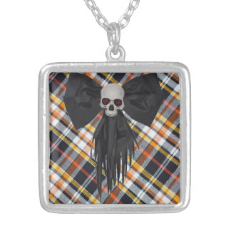Halloween Plaid Silver Plated Necklace