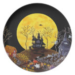 Halloween,plate,ghosts,haunted,house,witch Melamine Plate