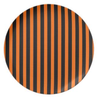 Halloween Plate, Striped Black & Orange Plate