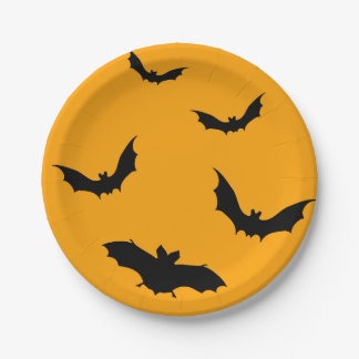 Halloween plate with moon and flying bats