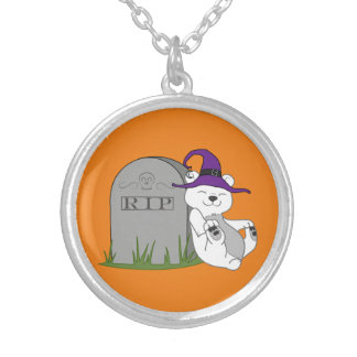 Halloween Polar Bear with Grave Stone Round Pendant Necklace