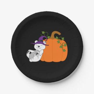 Halloween Polar Bear with Pumpkin 7 Inch Paper Plate