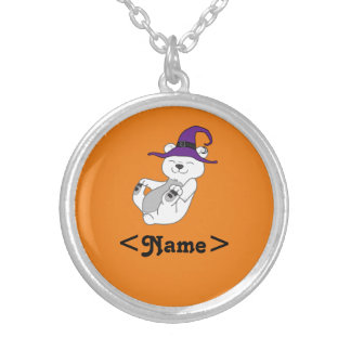 Halloween Polar Bear with Witch Hat Round Pendant Necklace