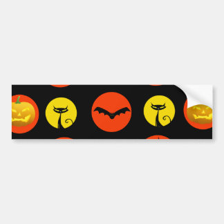 Halloween Polka Dots Bats Black Cats Witches Gifts Bumper Sticker
