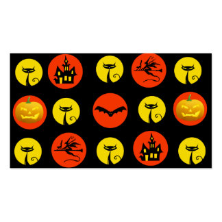 Halloween Polka Dots Bats Black Cats Witches Gifts Double-Sided Standard Business Cards (Pack Of 100)