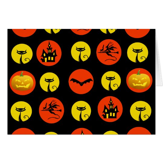 Halloween Polka Dots Bats Black Cats Witches Gifts Card