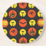 Halloween Polka Dots Bats Black Cats Witches Gifts Coasters
