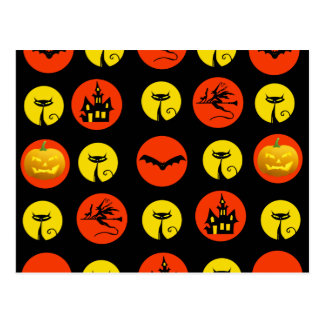 Halloween Polka Dots Bats Black Cats Witches Gifts Postcard
