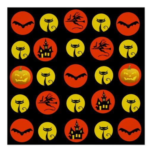 Halloween Polka Dots Bats Black Cats Witches Gifts Poster