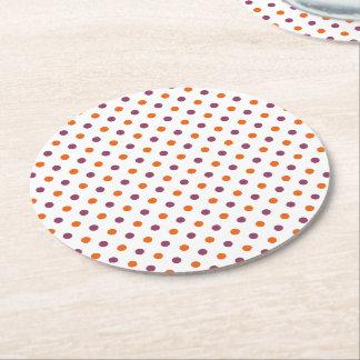 Halloween Polka Dots Round Paper Coaster