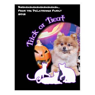 Halloween - Pomeranian - Simba Tarjeta Postal