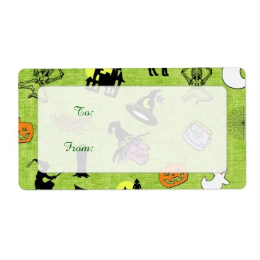 Halloween Themed Halloween Pop Art Collage on Lime Green Texture Label
